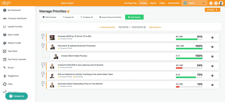 Screenshot of Align Priority and Accountability Progress Dashboard