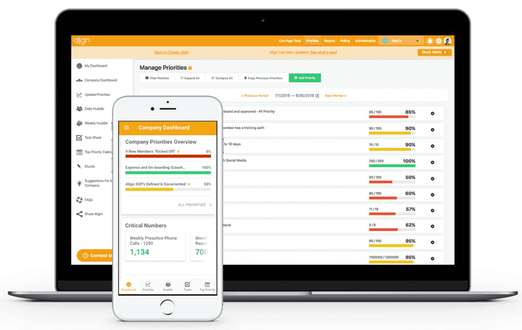 Align Strategic Planning and KPI Software Mobile and Desktop Screenshot