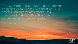 Andrew Carnegie Teamwork quote with sunset background