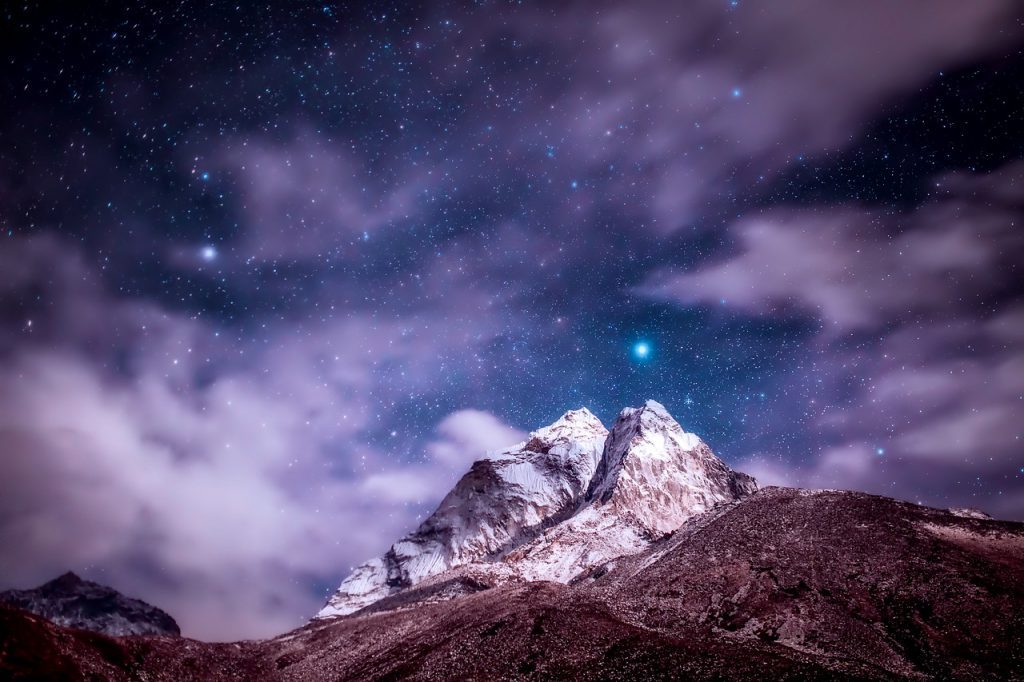 North Star over Himalayan Mountains