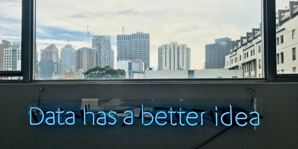Lit up data has a better idea sign